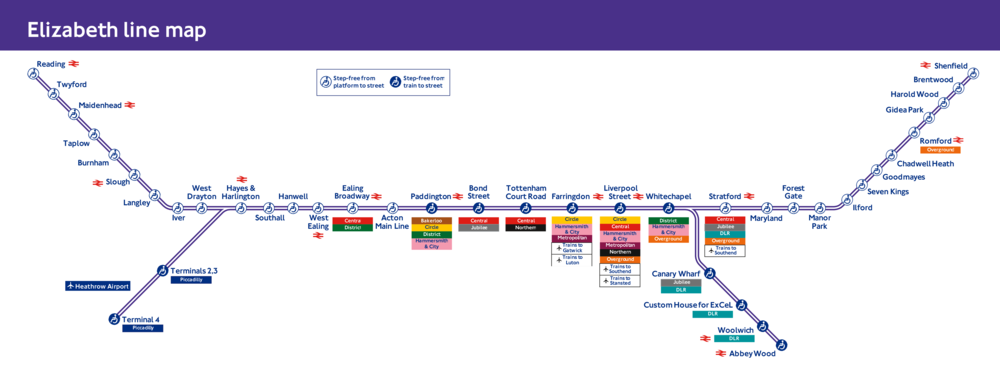 Map of the new Elizabeth Line created by the Crossrail Project; Note the extensive intermodal connections the new line will provide thereby unifying previously disconnected systems[Transport for London]