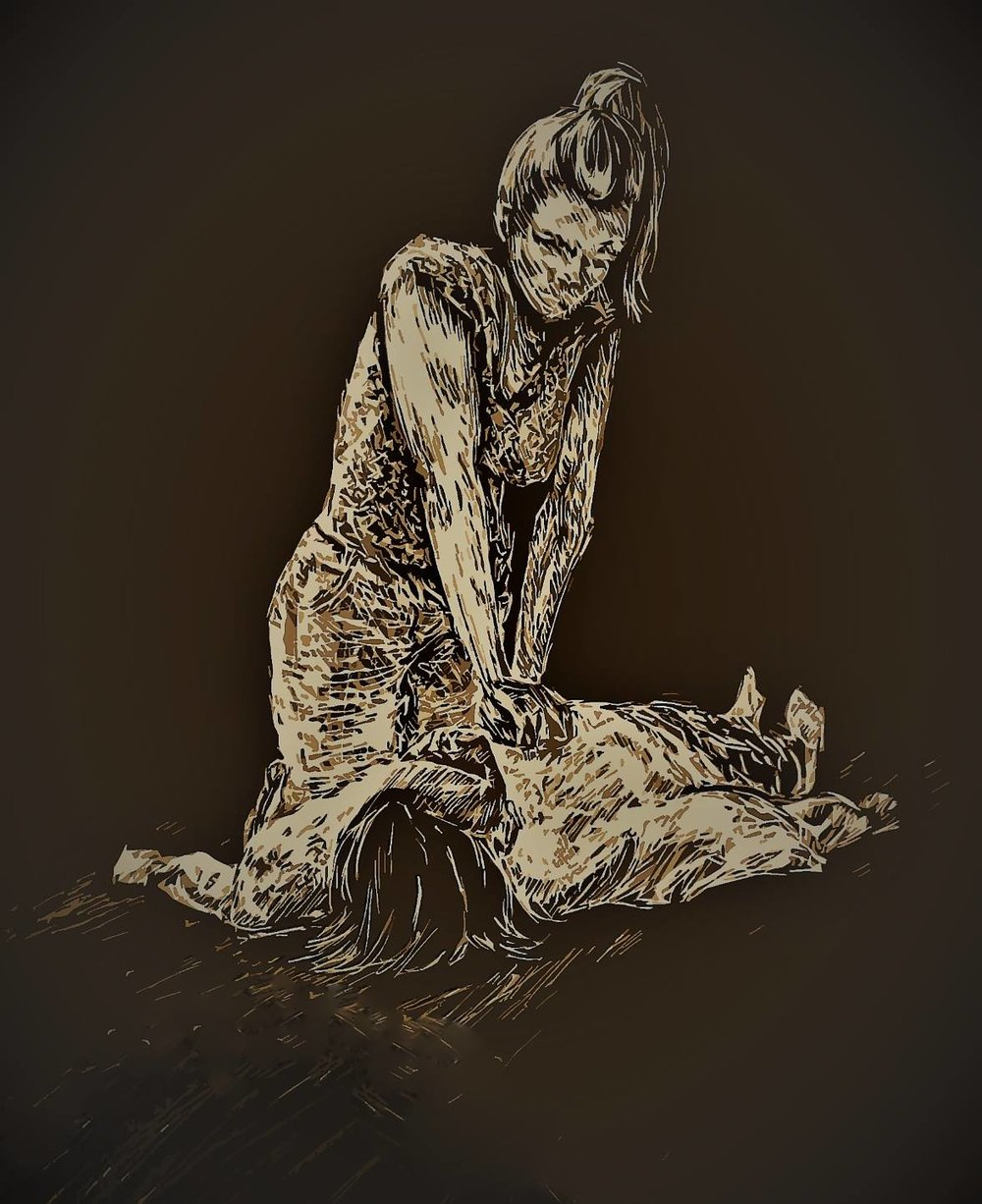 "Reparation and Resuscitation  by Laura Elizabeth Hand   Reparation and Resuscitation  is 10"" x 12"" scratchboard, watercolor, and white paint and features a young woman performing CPR to resuscitate a collapsed figure.   This piece was first published in Quarto's Spring 2017 edition."