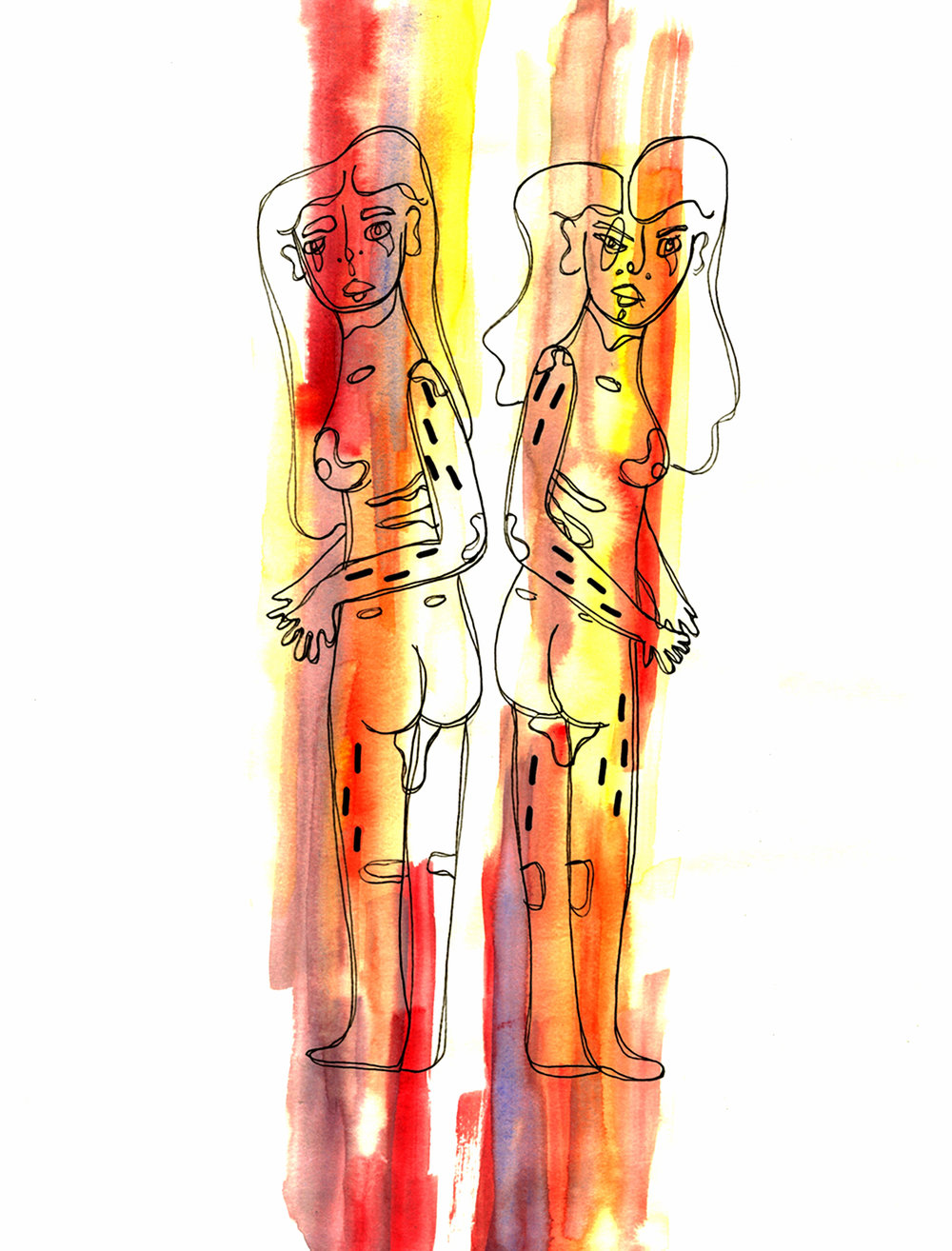 Twins Nude  by Denver Blevins   Twins Nude  combines watercolor and pen, and its subject explores female acknowledgement of the male gaze.   This piece was first published in Quarto's Spring 2018 edition.