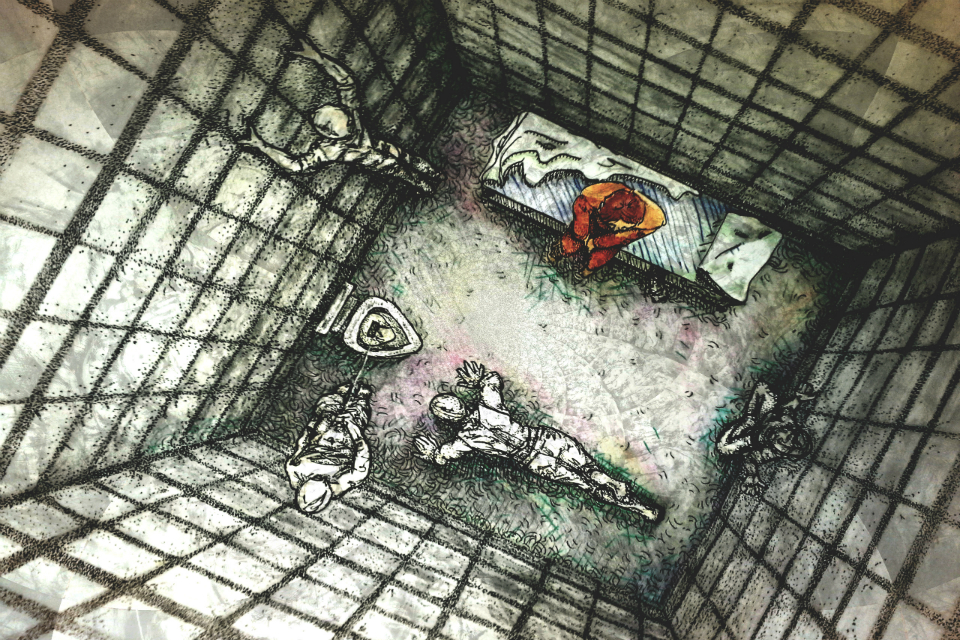 Exploring your Options  by Laura Elizabeth Hand   Exploring your Options  is pen, colored pencil, and watercolor. The piece is inspired by the issue of mass incarcerations and a friend's experience in solitary confinement in a Cuban prison.   This piece was first published in Quarto's Spring 2018 edition.