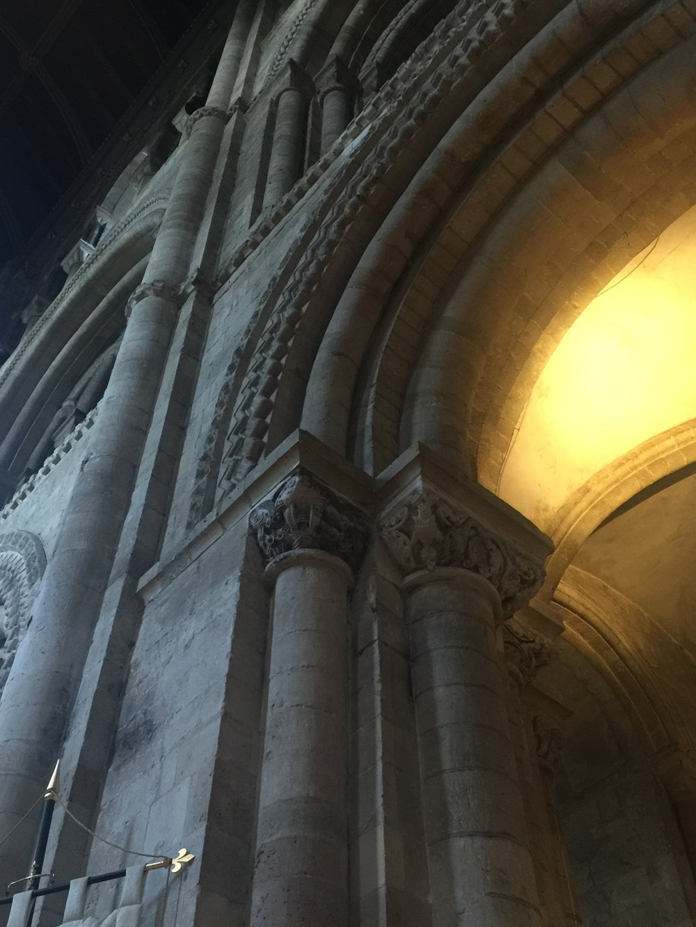 Capitals and archway