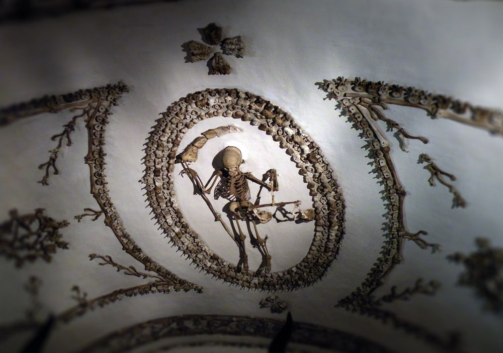 Ceiling decor made from human bones