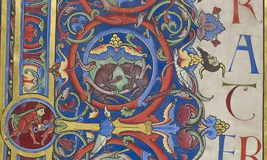 -  Details on the Bury Bible, one of the illuminated manuscripts in the collection of the Parker Library at Corpus Christi College, Cambridge