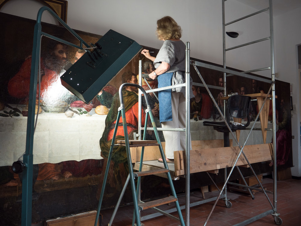 Conservator Rossella Lari on the scaffolding to restore Nelli's figures