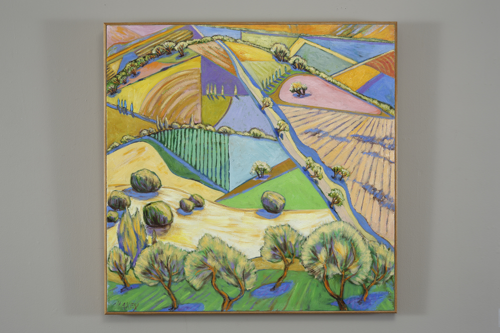 Fields below Orvieto, oil on canvas 30 x 30