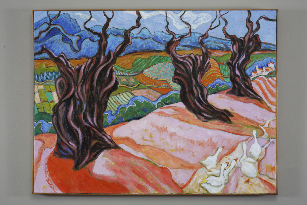 Olive Trees at La Mandrie, Assisi, oil on canvas, 36 x 48