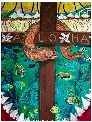 "Aloha,  Oil on linen, 46""h x 34""w, 2003"