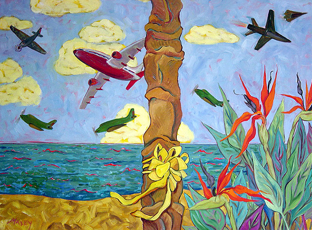 "Birds of Coronado,  oil on linen,   32""h x 44""w,  2003"