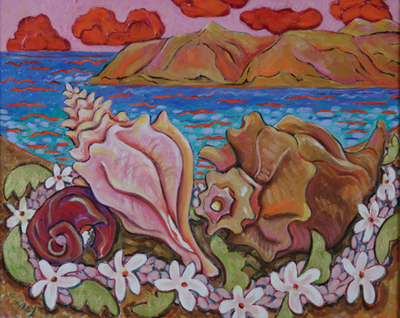 "Last Evening at Manele Bay,  oil on linen,  30""w x 24""h,  2003"
