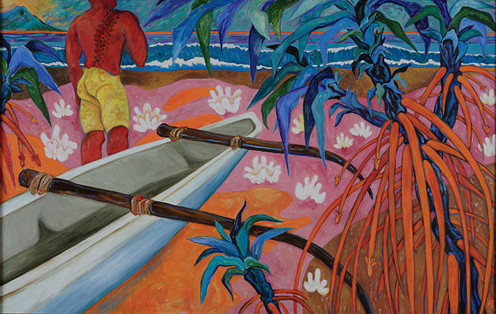 "Waikiki: Tattoo and Pandanus ,  oil on linen,  60""w x 38""h,  2008"