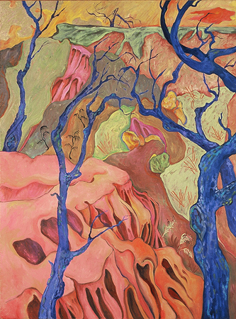 Chaparrel Slopes of Anderson Canyon,  oil on linen,  1999