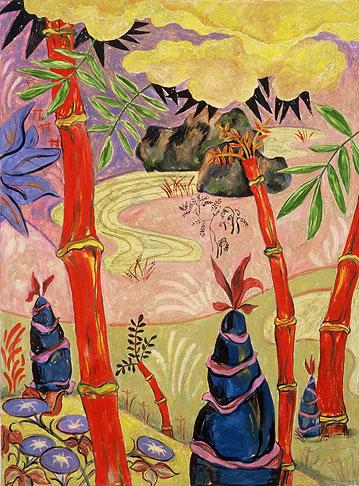 Ginkaku-Ji Moss Garden, oil on linen, 1998