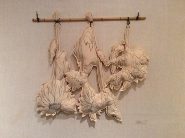 Drying Sunflowers, soft sculpture, 4 x 4