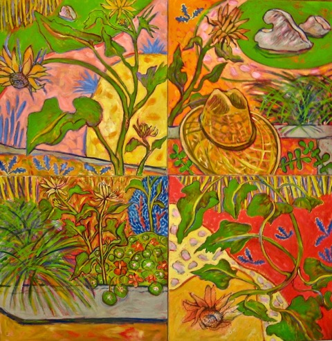 Four Views Of The Garden, oil on canvas, 40 x 40