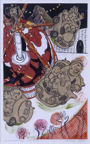 "Mixed media on paper, 14""h x 9""w, 2004"