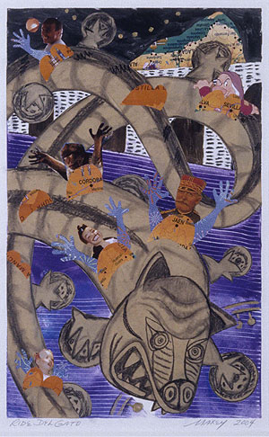"Mixed media on paper, 14""h x 9""w, 2004."