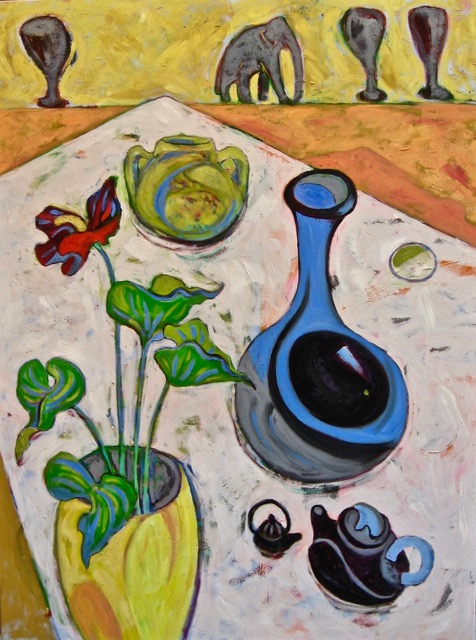 Studio Table With Elephant, oil on canvas, 40 x 30