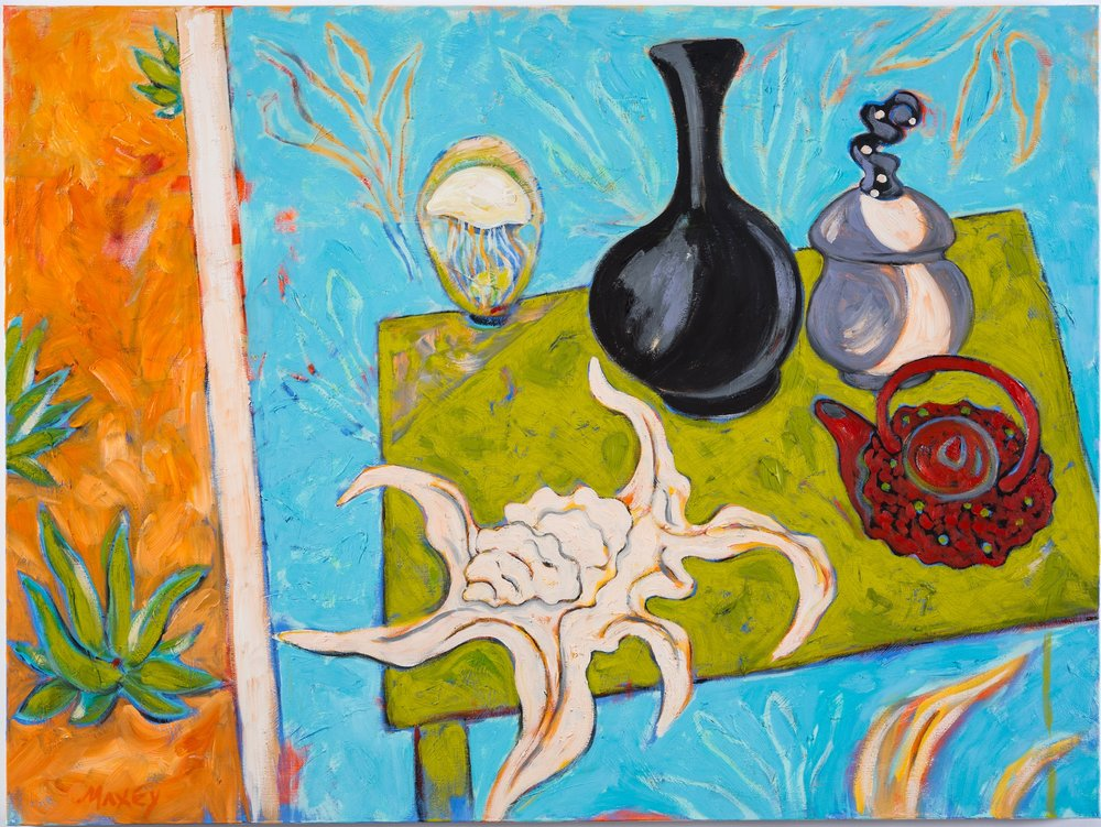 "Still Life on Shaded Patio, h 30"" x w 40"""