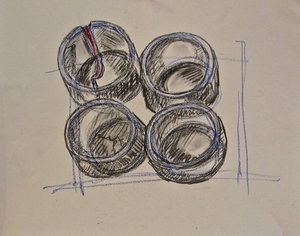 """Study for """"Old Bamboo Cups"""""""