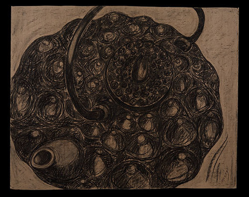 """Teapot 4, Charcoal on Corrugated Paper 48""""h x 48""""w 2008"""