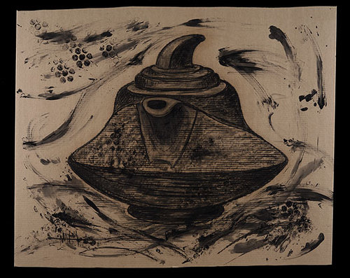 """Teapot 3, Charcoal on Corrugated Paper 48""""h x 48""""w 2008"""