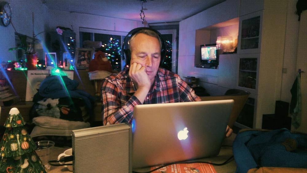 Frederik watching Aiste's Tape