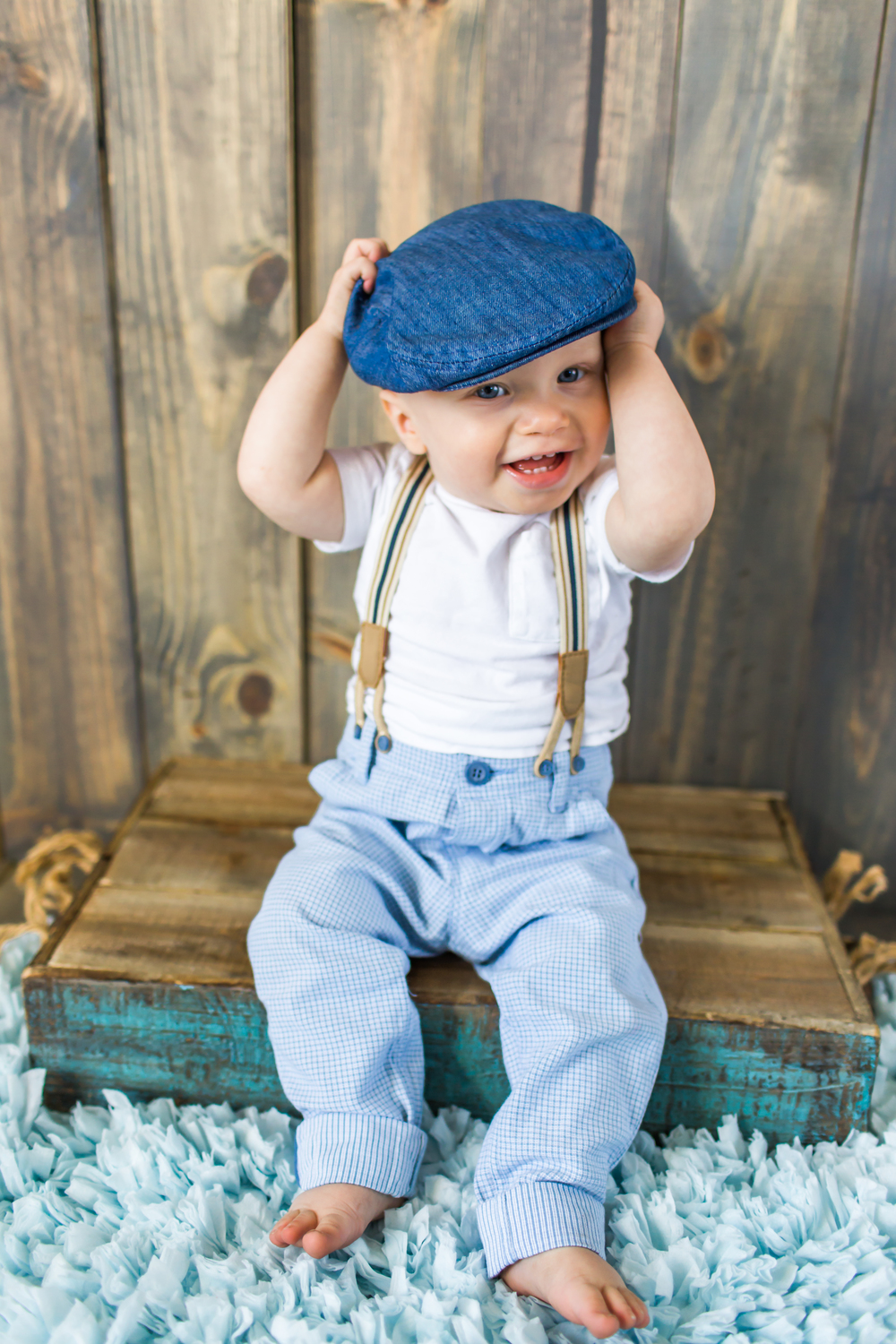 He Giggles As Waves The Hat Around His Vintage Suspenders Threatening To Slide Down 1 Year Old Arms Still A Little Pudgy With Baby Fat But Growing