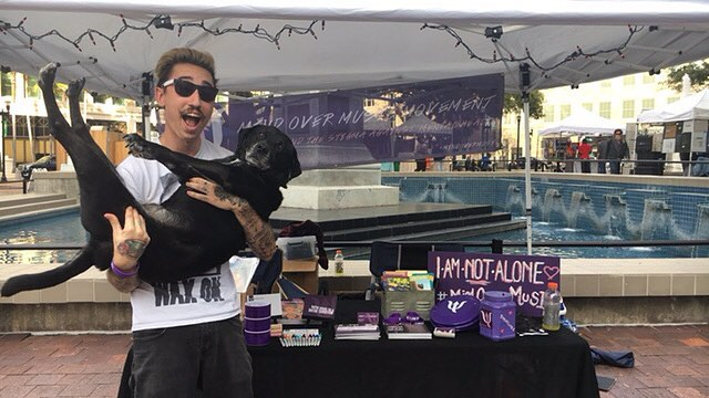 come by and give some belly rubs to grady (or chandler) next to the fountain downtown at art walk! we'll be here all night 🐶 #iamnotalone