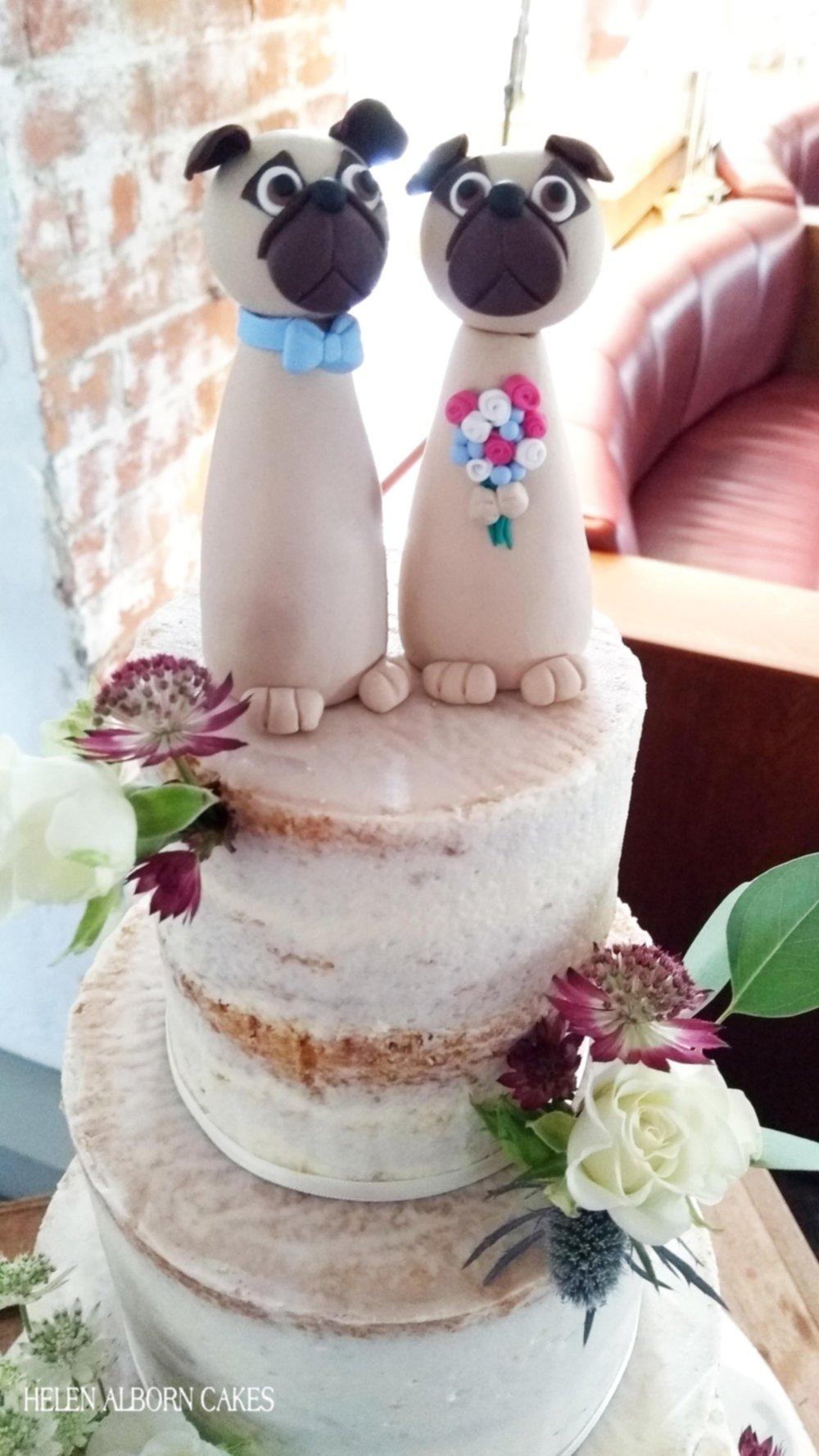 Semi-naked wedding cake with fimo pug dog toppers