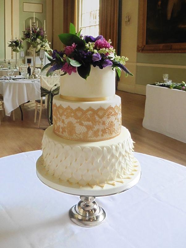 Peacock inspired wedding cake