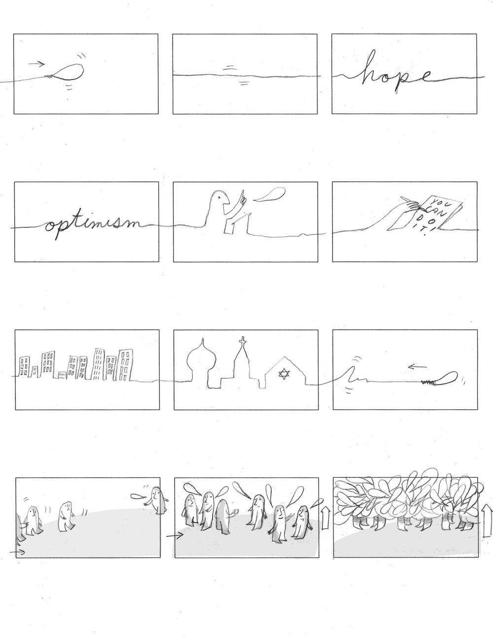 """Storyboard for """"Hope And Optimism"""" Animation, 2017"""