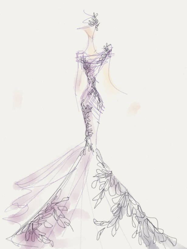 Carol Hannah Wedding Gown Sketch