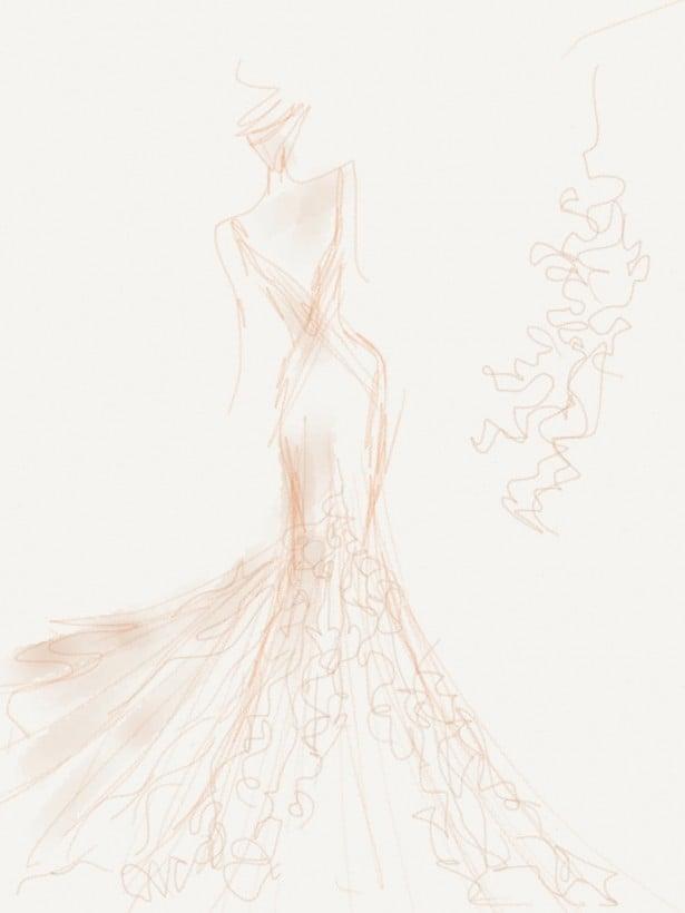 Carol Hannah gown sketch