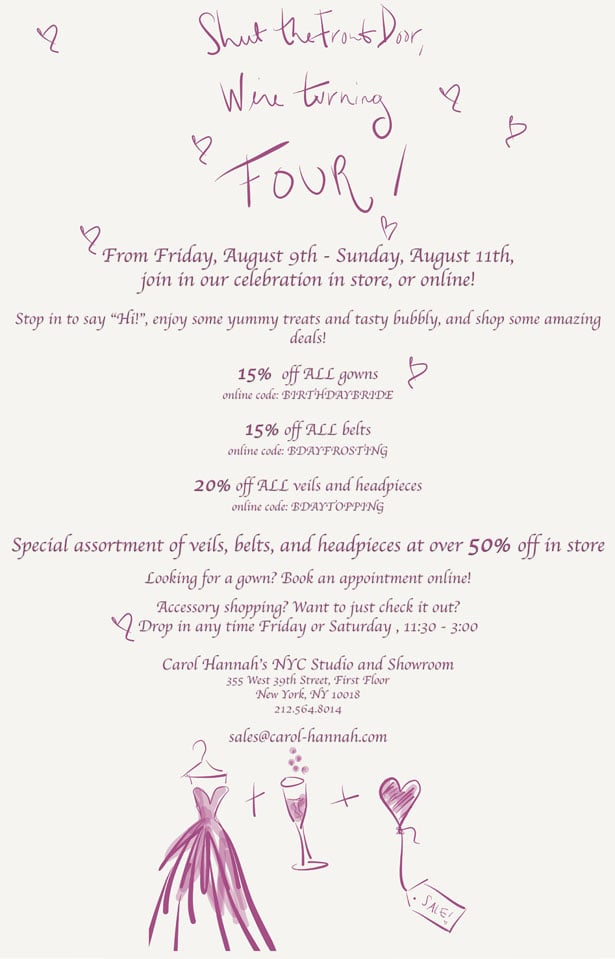 Carol Hannah Birthday Sale online discount codes