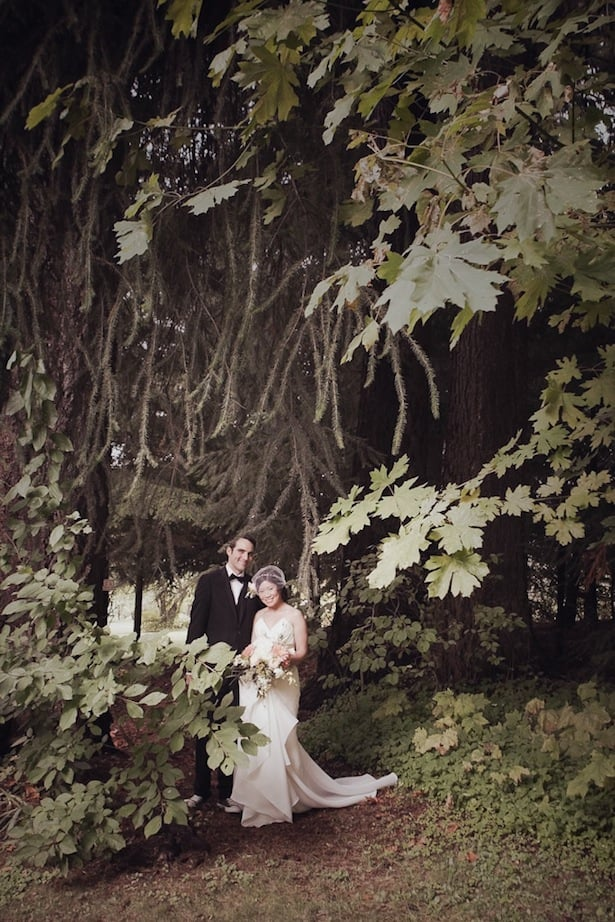 Alina & John Hazen's Wedding in Mount Hood, Oregon; Poplar gown-Carol Hannah