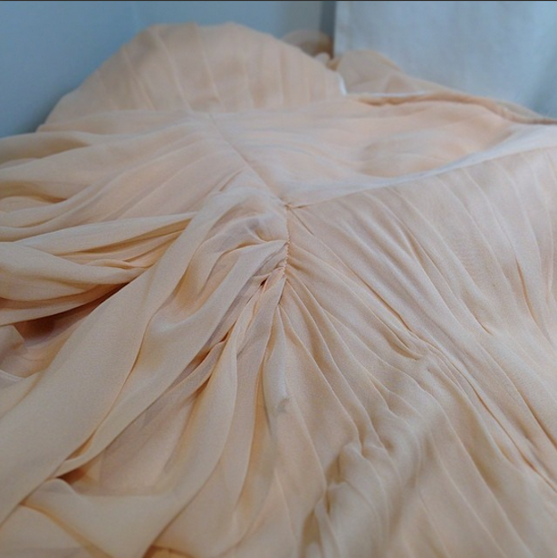 Romantic chiffon draping in this custom Juniper gown
