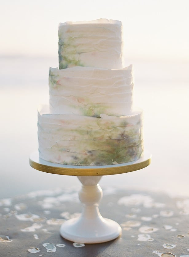 Beautiful watercolor inspired wedding cake