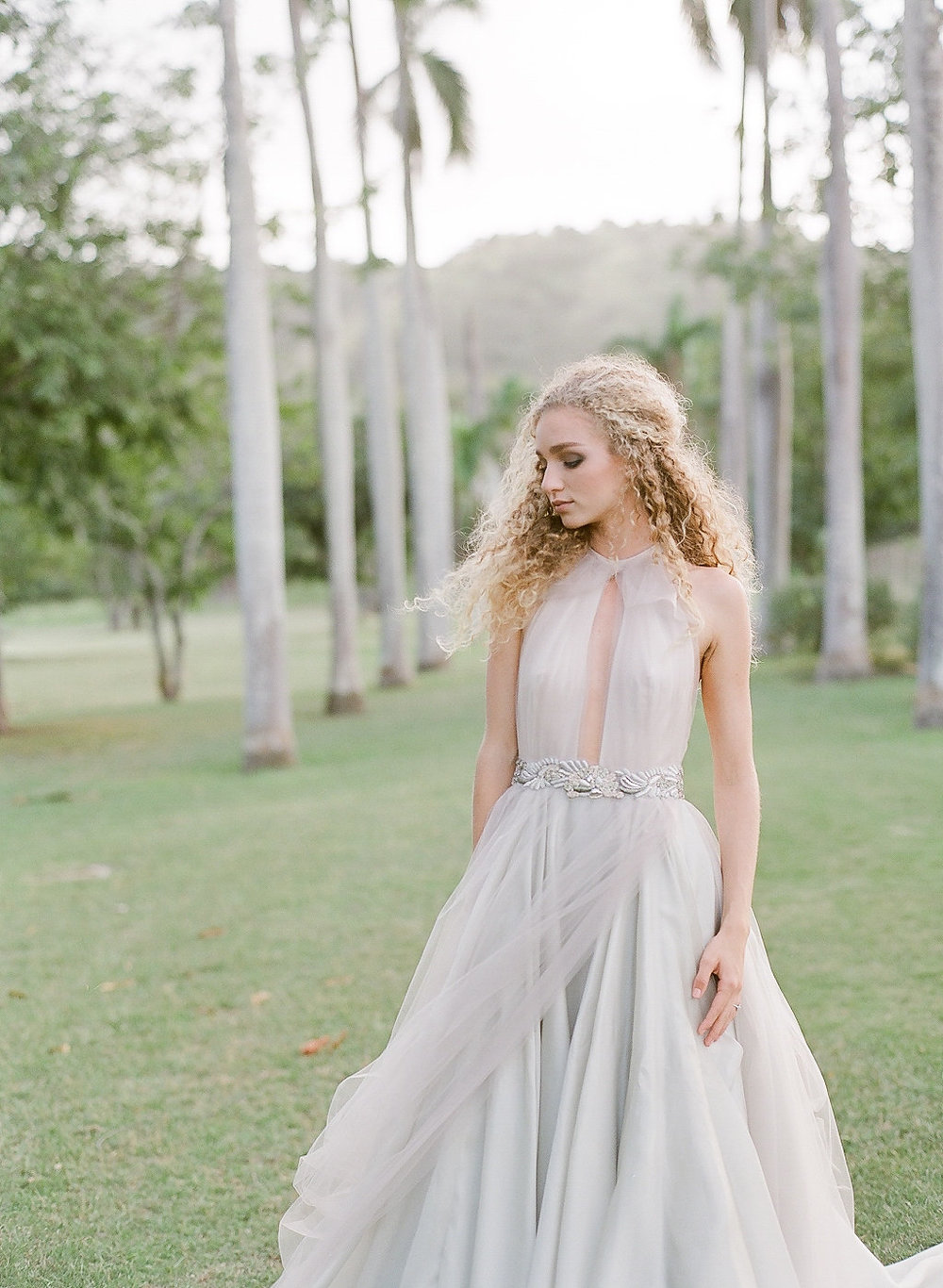 light gray tulle draped halter neck wedding dress ny designer bridal shop2-149.jpg