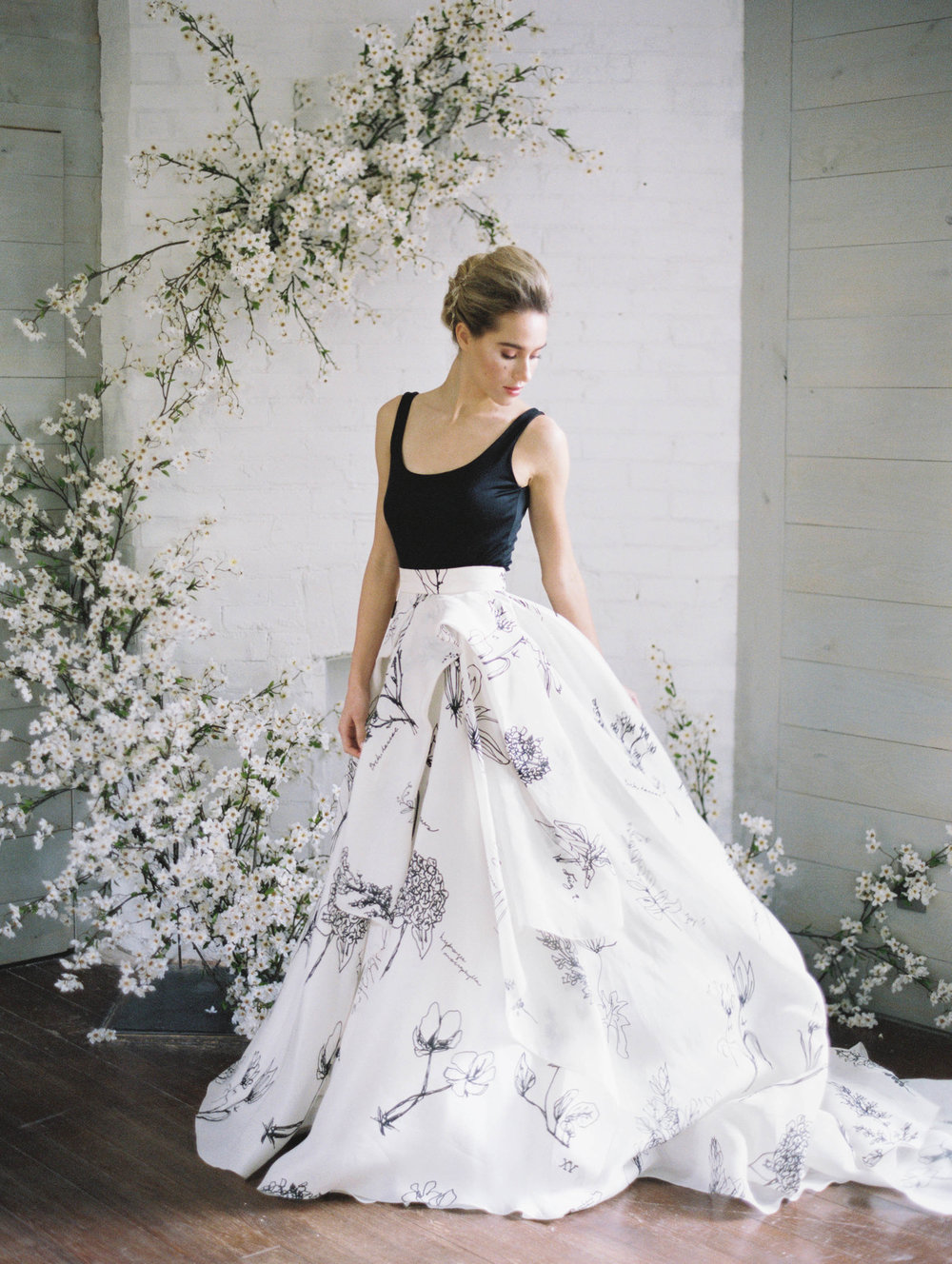 Printed floral wedding skirt black and white bridal separates nyc designer12.jpg