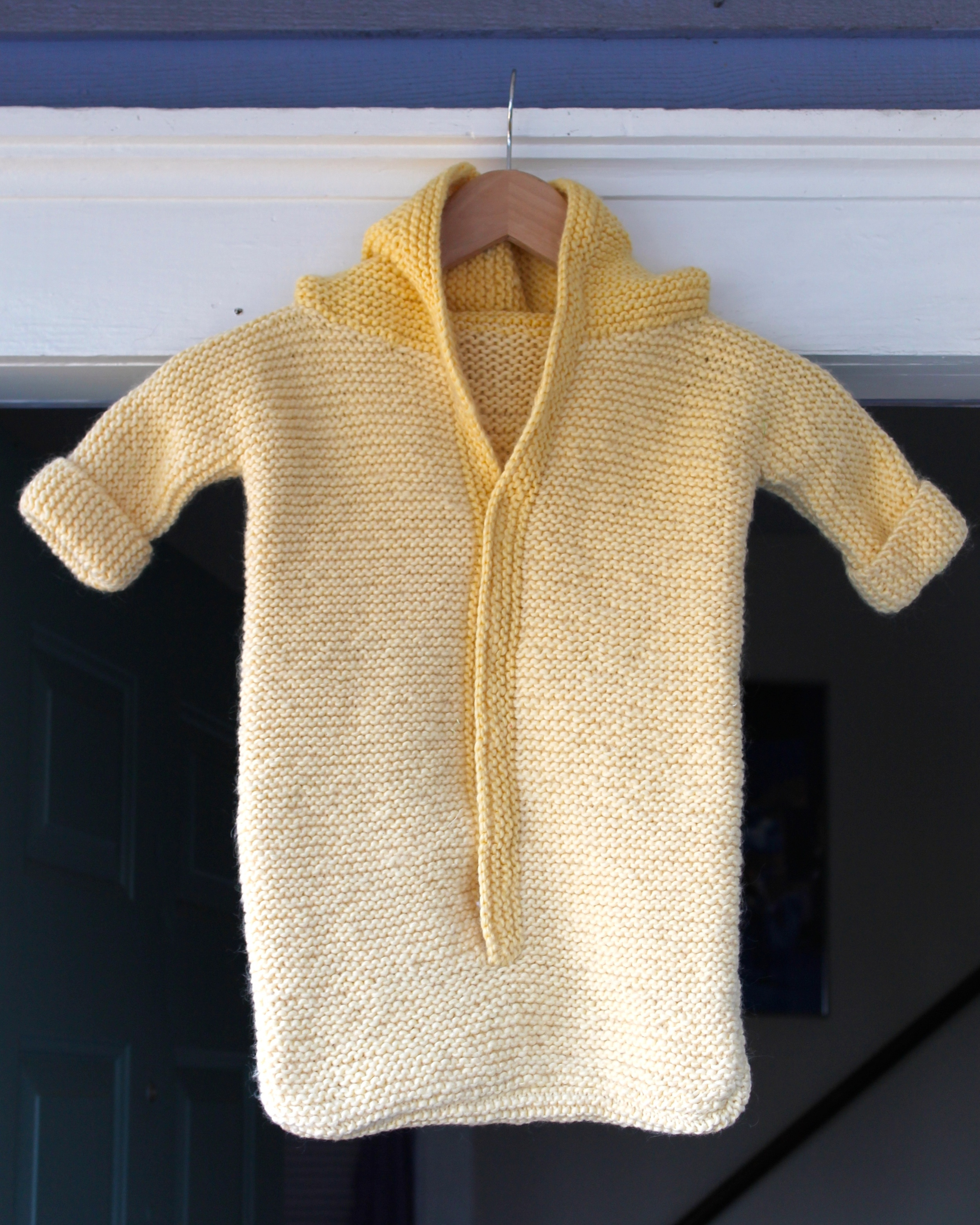 Baby sleep sack made from yellow wool