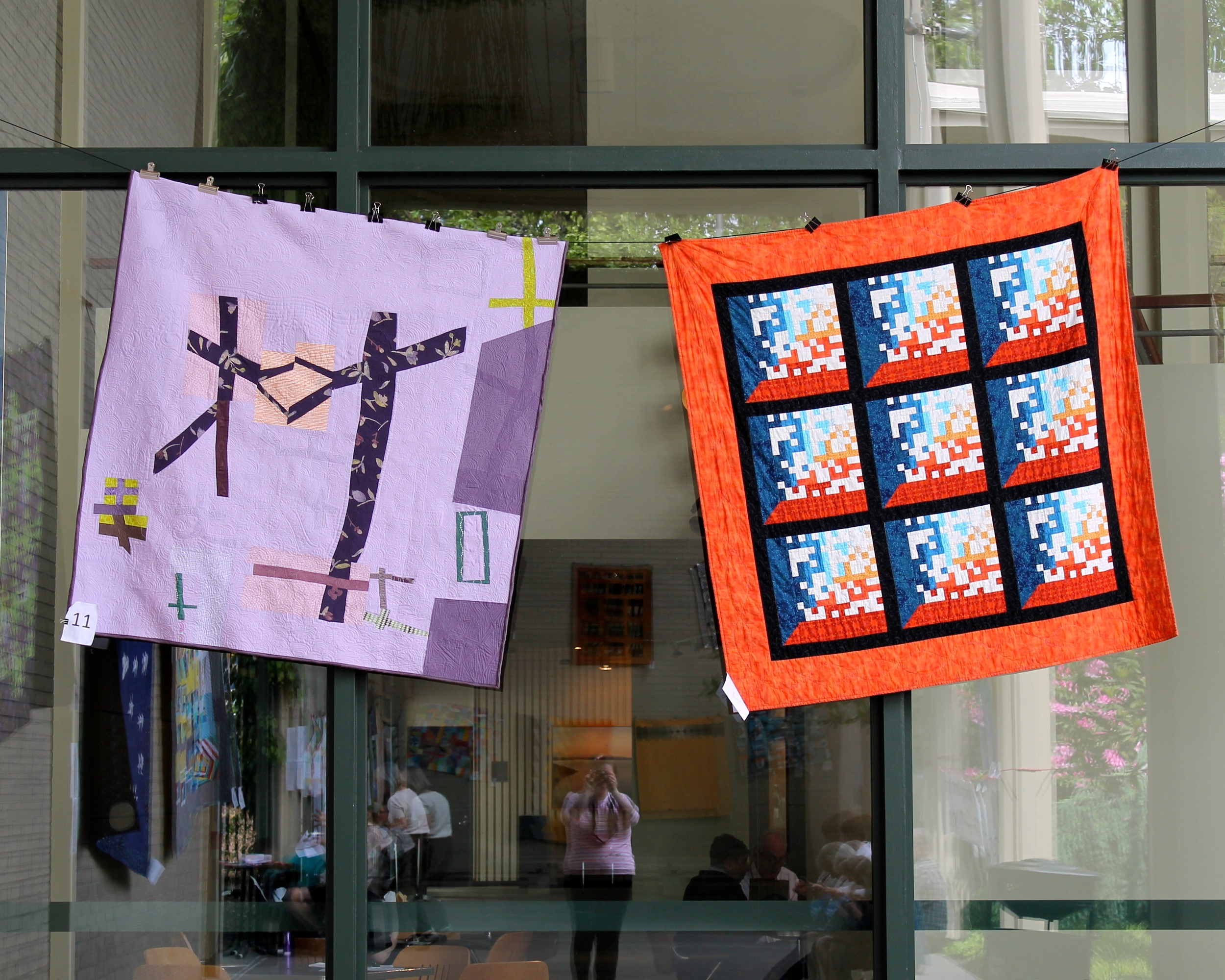 two modern quilts at Northwest Folklife (from Seattle Modern Quilt Guild)