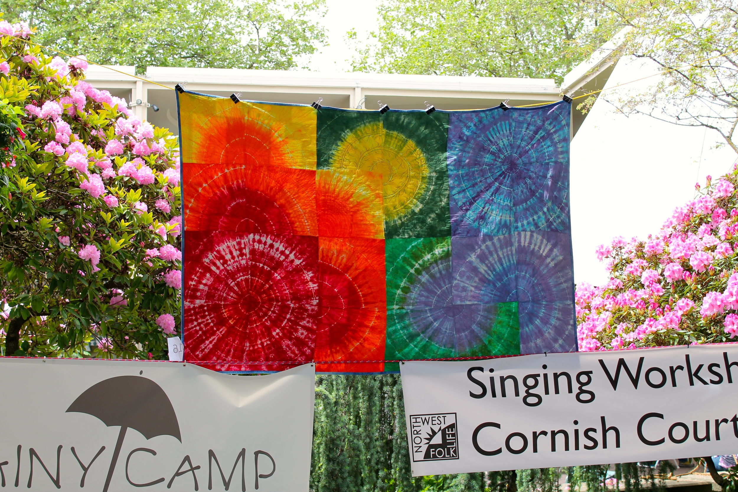 Tie dyed quilt at Northwest Folklife (from Seattle Modern Quilt Guild)