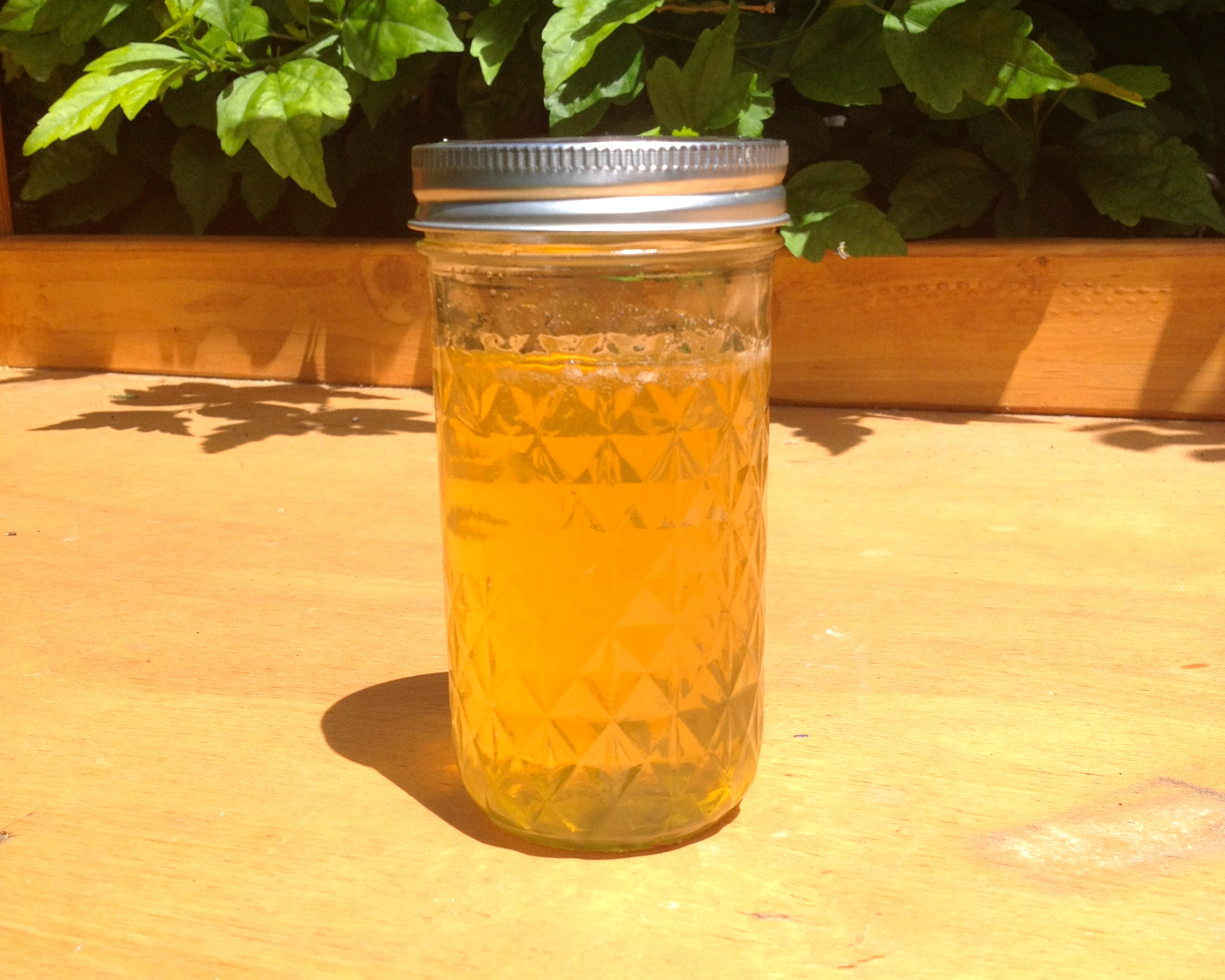 Freshly extracted honey in a mason jar