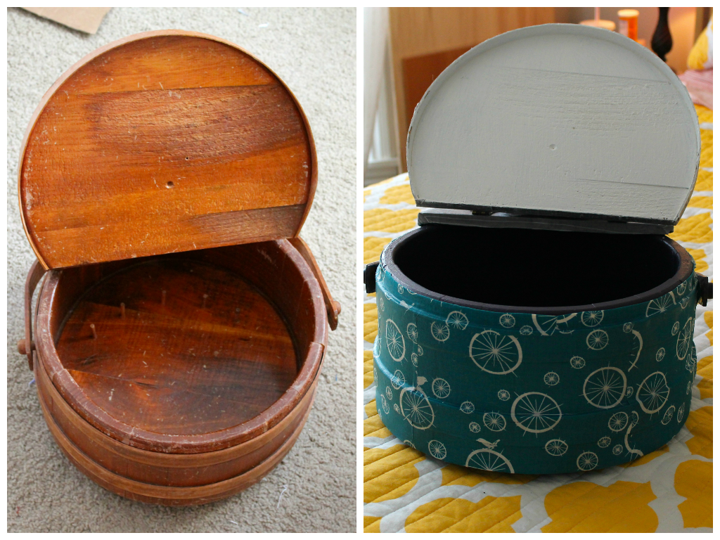 Before and after of thrift store wooden sewing box