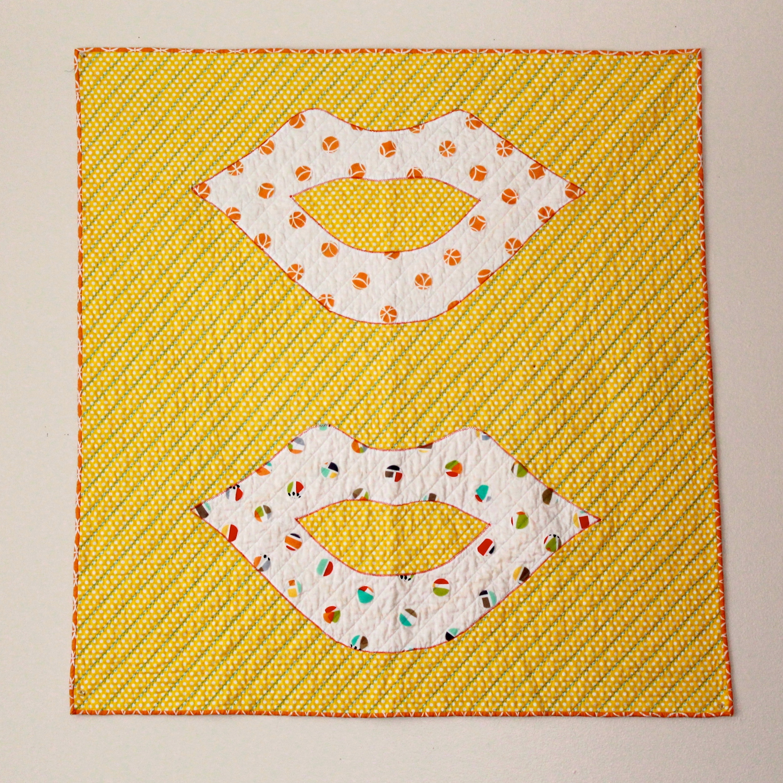 Andy Warhol/Roy Lichtenstein wall hanging quilt with lips and polka dots