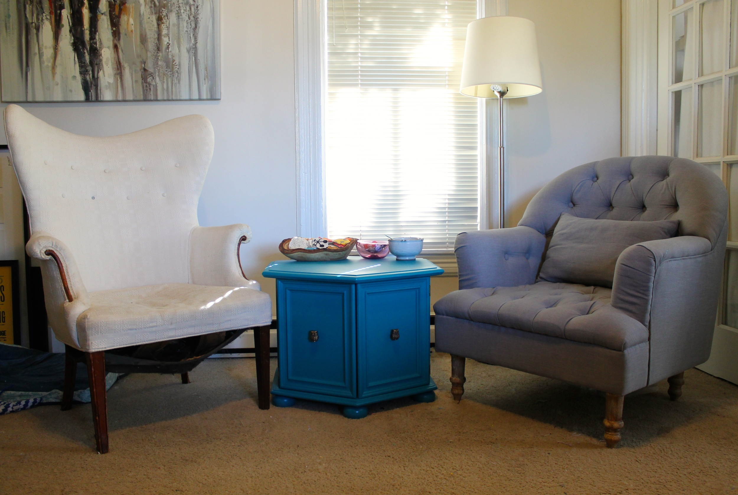 Side table painted blue with Rustoleum paint