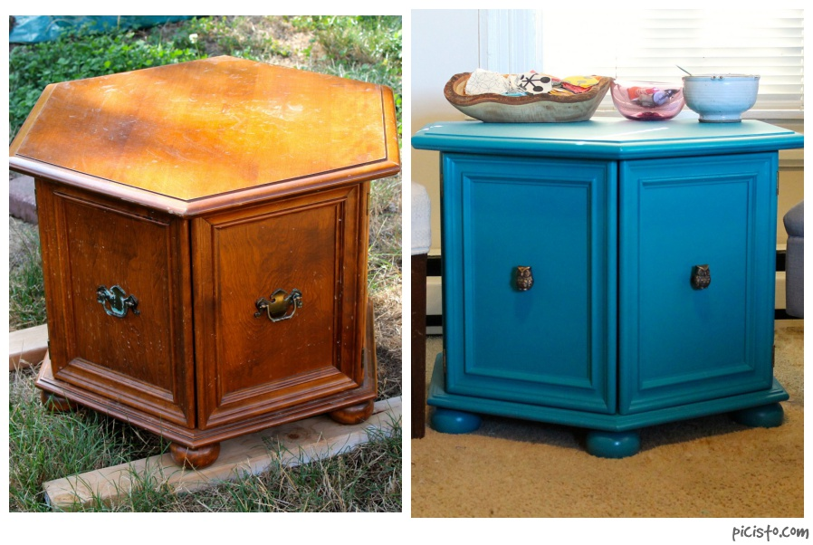 Before and after of repainted thrift store side table