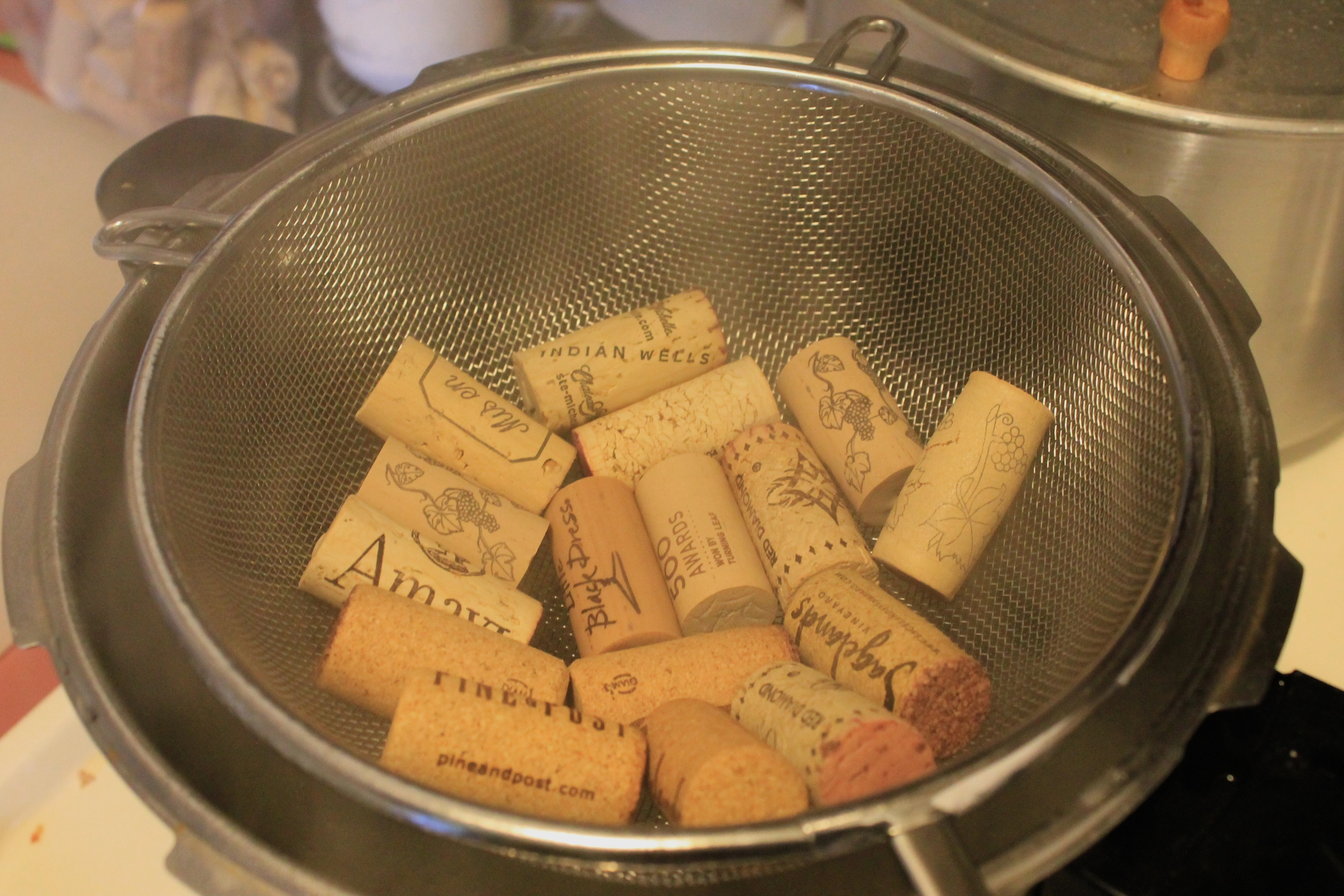 Wine corks being steamed