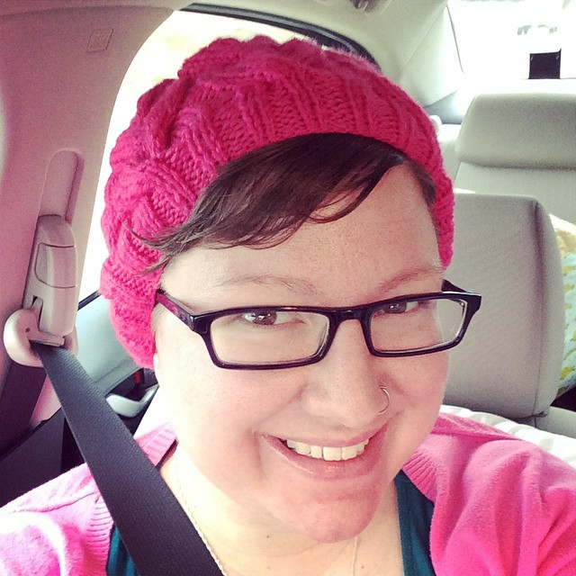 Hot pink cabled hat in Cascade Yarns (Debbie Bliss design)