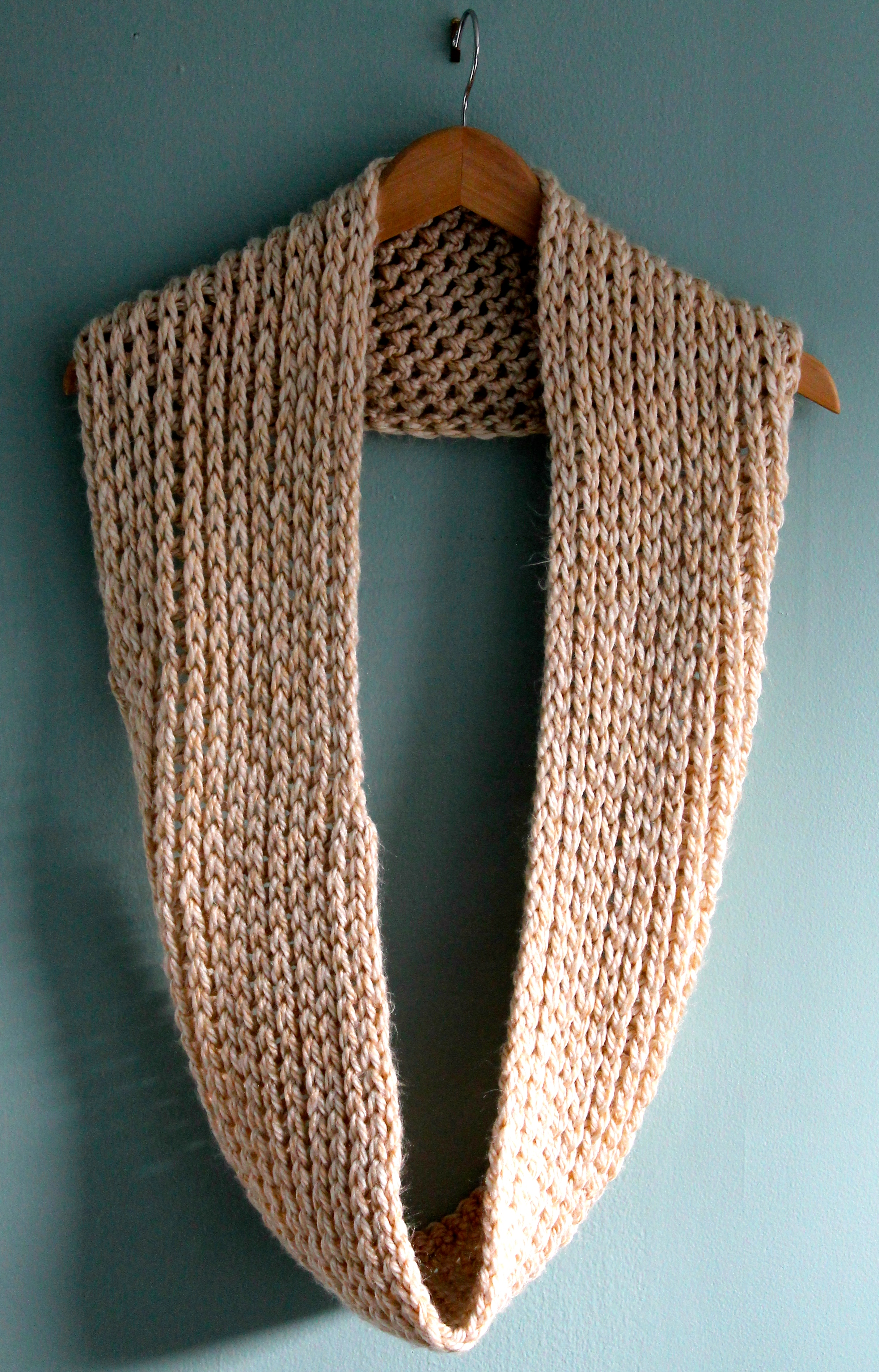 Sandy colored crocheted cowl in Lion Brand Yarn Thick and Quick